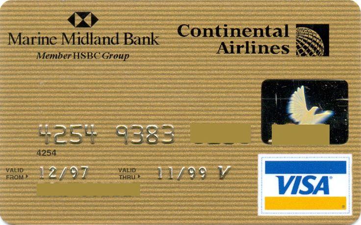 Continental Airlines VISA Gold (Marine Midland Bank, United States of America) Col:US-VI-0386