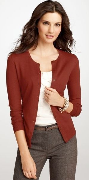 outfits with burgandy slacks | outfit post: burgundy cardigan, white tie blouse, brown 'editor' pants ...