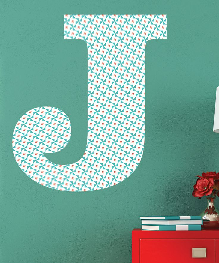 Coral Teal Retro Dot Monogram Wall Decal Daily Deals For Moms - Coral monogram wall decal
