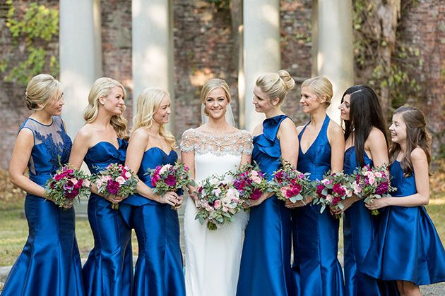 "A Jewel-Toned Fall Wedding in New York, Bride with Bridesmaids in Sapphire Blue Gowns // love that the dresses don't necessarily match the ""theme"" or flowers"