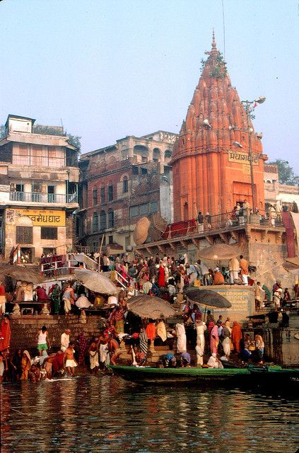 Morning ablutions, Ganges River, Varanasi, India. Varanasi is a historical city in northern India. The city is sacred to Hindus and also one of the oldest continuously inhabited cities in the world.