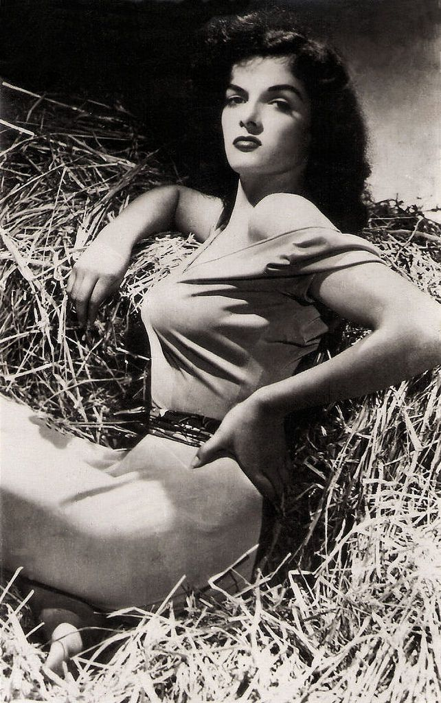 https://flic.kr/p/QRQqd9 | Jane Russell in The Outlaw (1943) | Vintage postcard. Publicity still for The Outlaw (Howard Hughes, 1943).  American film actress Jane Russell (1921-2011) was one of Hollywood's leading sex symbols in the 1940s and 1950s.   See for more vintage postcards of Hollywood stars our sets Vintage B&W Hollywood and Hollywood Colour Postcards or follow us at Tumblr or Pinterest.
