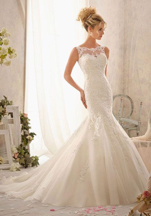 Delicately embroidered lace appliques Wedding Dress - Wedding-dresses-uk.co.uk