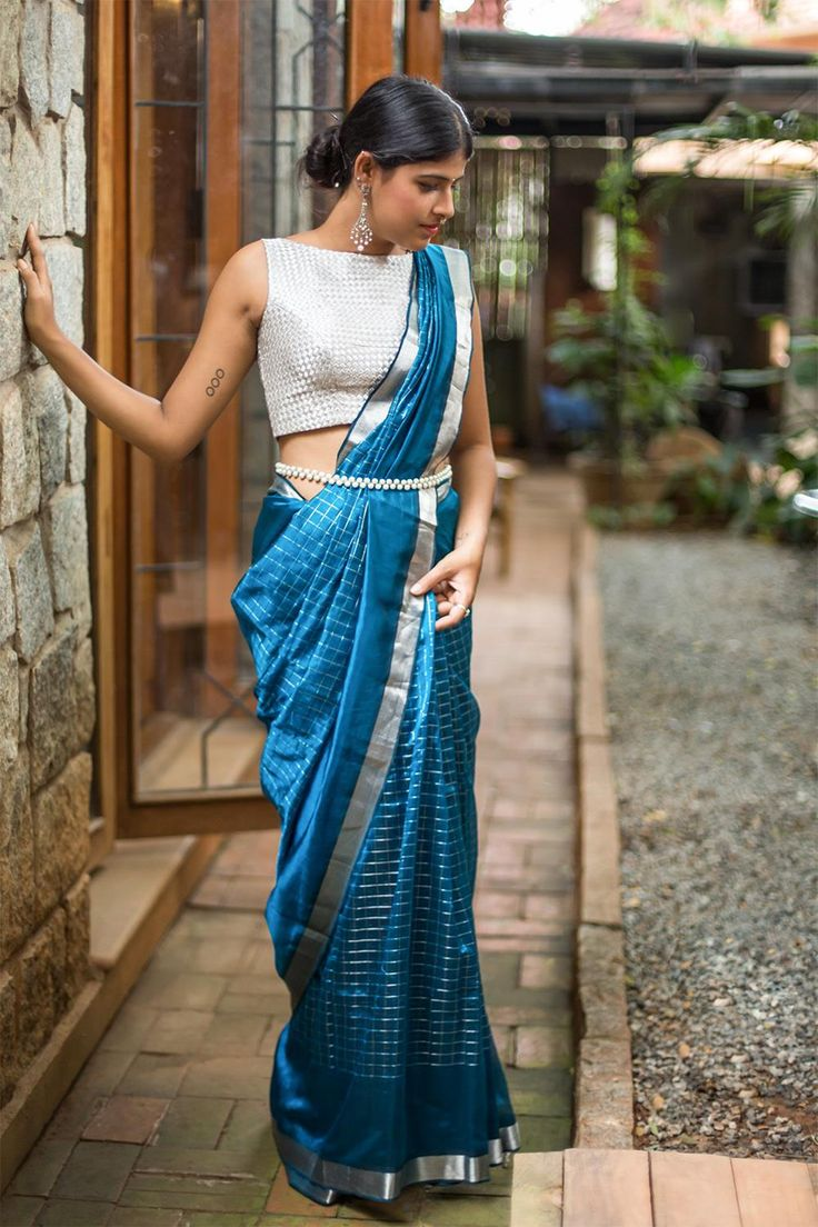 68e0b8165895d9 Pastel Handloom Banarasi Pure Chiffon Georgette Saree. Dark cobalt blue  Mangalagiri silk cotton with silver checks and silver border