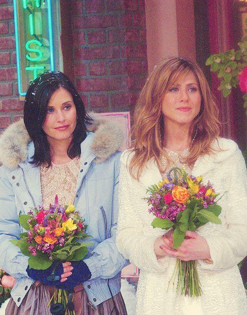 Monica & Rachel as bridesmaids in Phoebe's wedding.
