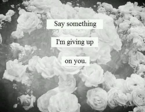 Say something.. I'm giving up on you..
