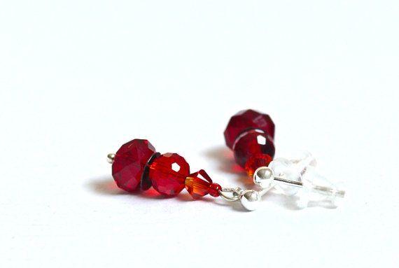 Stud earrings with red Swarovski crystal beads by YUKIJewellery, €13.50