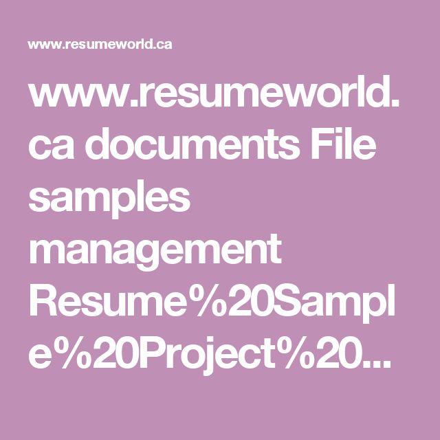 www.resumeworld.ca documents File samples management Resume%20Sample%20Project%20Management%20Functional.pdf