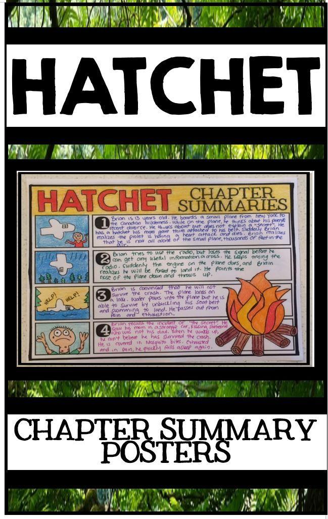 Hatchet by Gary Paulsen Novel Study Unit - Chapter Summary Posters
