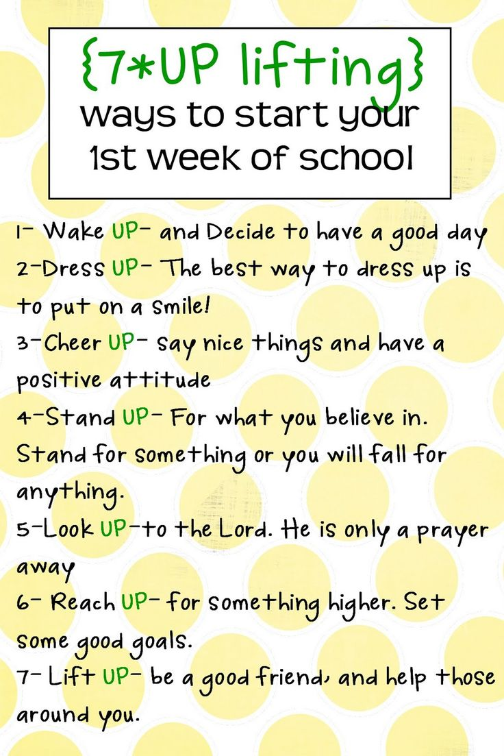 7-UP back to school - seven Uplifting ways to start your first week of school :)