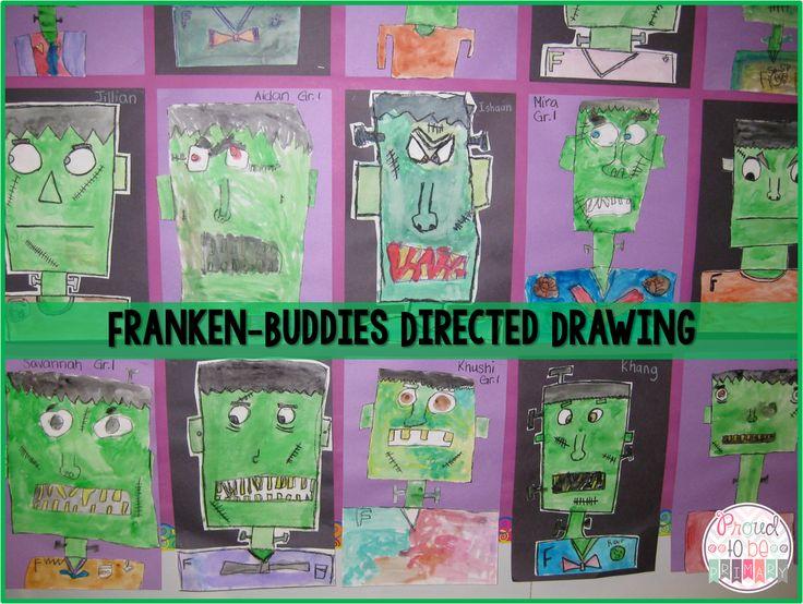 Proud to be Primary's Franken-Buddies Directed Drawing of Frankenstein for Halloween. www.proudtobeprimary.com