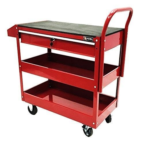 Tool Cart Utility Storage Garage Service Steel Rolling Tools 2 Shelves Drawer #Unbranded