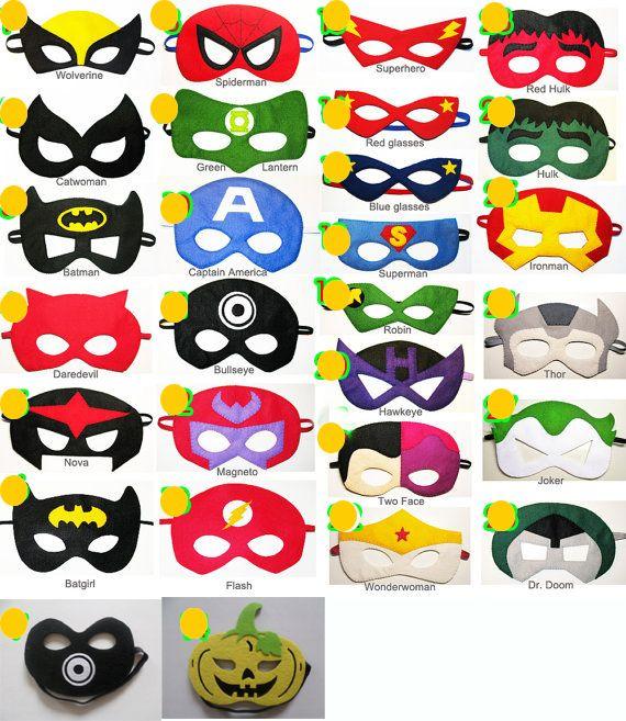 Pas cher Superhero masque 52 style Superman Batman Spiderman Hulk Thor Iron Man Captain America Wolverine halloween costume pour enfants, Acheter  Masque de fête de qualité directement des fournisseurs de Chine:            Vous pouvez choisir la couleur, juste marquer dans l'ordre (nous dire comme ce NO1 2 pcs, NO2 3 pcs et a