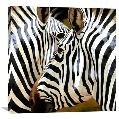 "Global Gallery 'Zebra Close-Up' by Arcobaleno Painting Print on Wrapped Canvas Size: 30"" H x 30"" W x 1.5"" D"