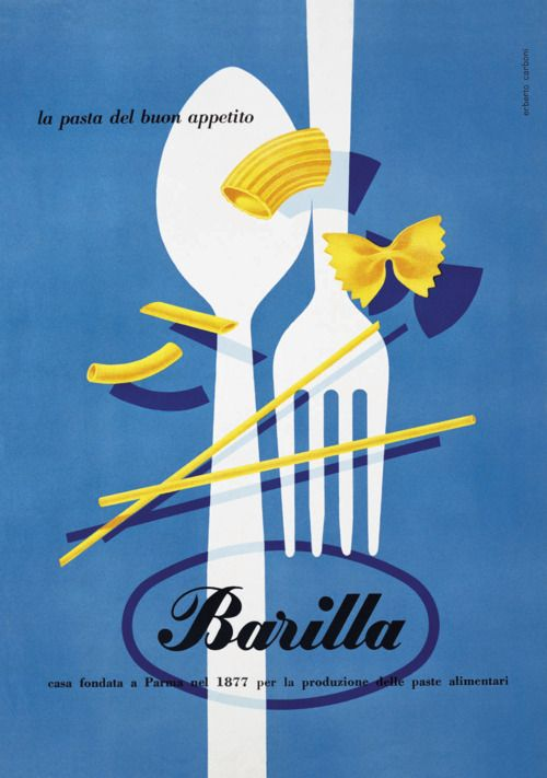 Vintage Barilla designs by Erberto Carboni. If they revert to this, I'll buy more of their pasta. #great_poster_design