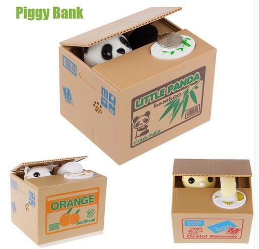 2016 Cut Automatic Stole Coin Piggy Bank Panda Yellow / White Cat Money Box 11.5x9.5x9cm Money Saving Box Moneybox Gifts For Kid