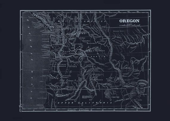 55 best blueprint maps images on pinterest antique maps old maps oregon state map blueprint map of oregon vintage map office wall art professional reproduction publicscrutiny Image collections