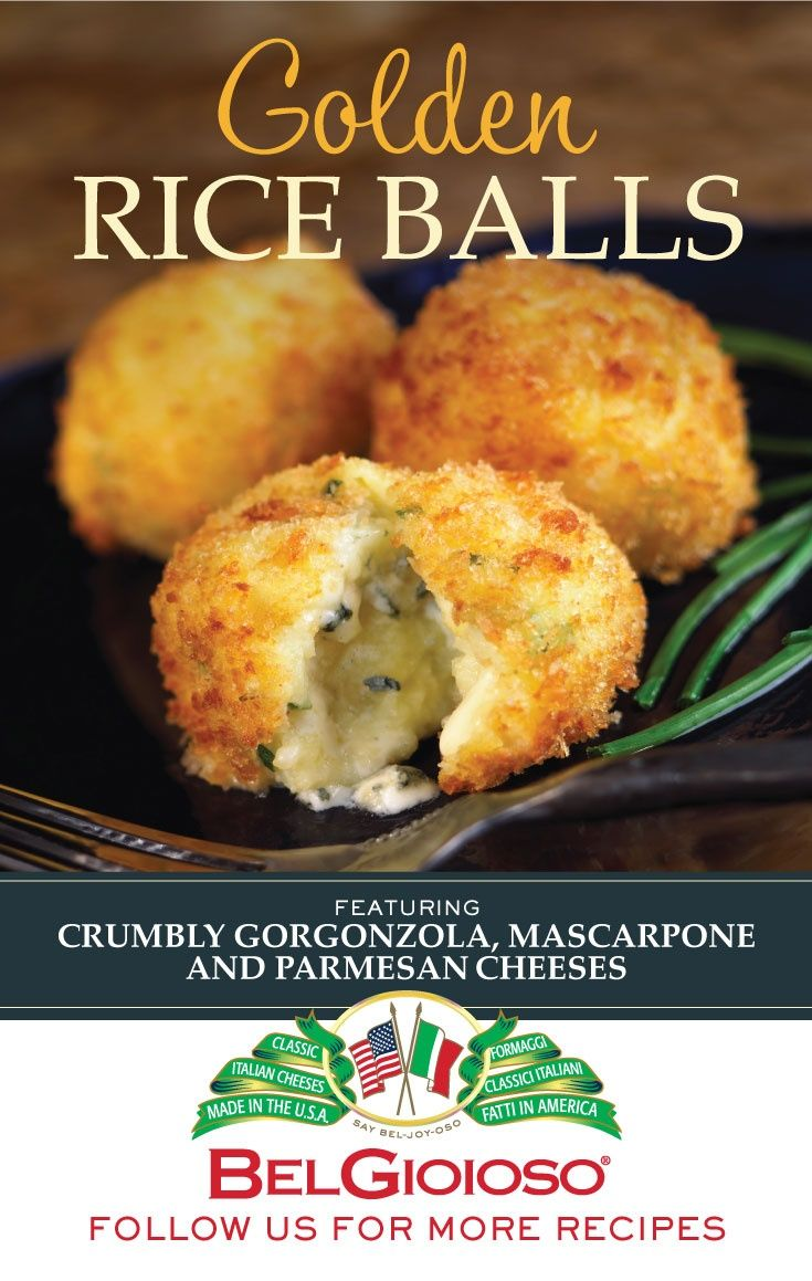 Enjoy these Golden Rice Balls filled with Gorgonzola, Mascarpone, and Parmesan in 15 minutes or less. Get cooking!