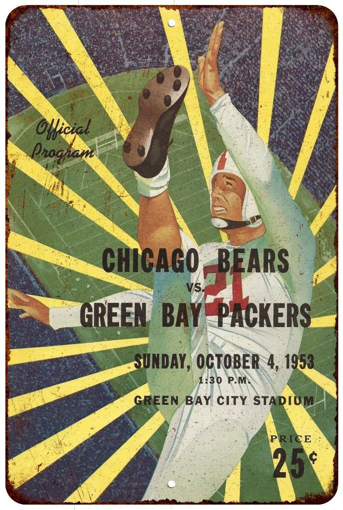 1953 Packers vs. Bears Vintage Look Reproduction 8 x 12 Metal Sign 8120530