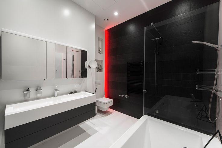 #Monochromatic bathroom #decor with glam #lighting