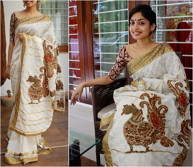 Creme and gold Jute net saree. Antique gold sequinned borders. Pallu embellished with Kalamkari peacock motifs and horizontal lines of gold sequins  Blouse fabric - Kalamkari cotton