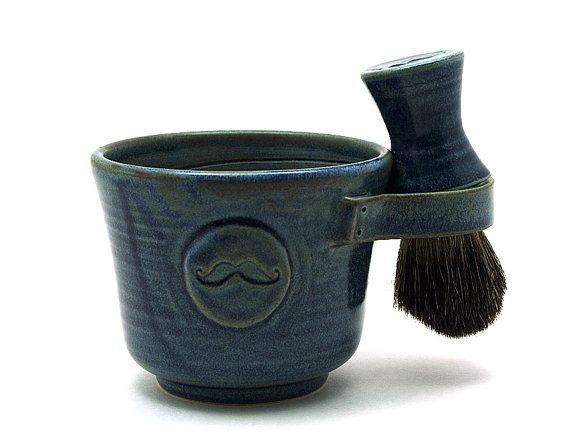 Mens Shaving Set, Blue Mustache Shave Mug, Black Badger Hair Shave Brush and Shaving Soap, Shave Set, Handmade Gift for Men - READY TO SHIP