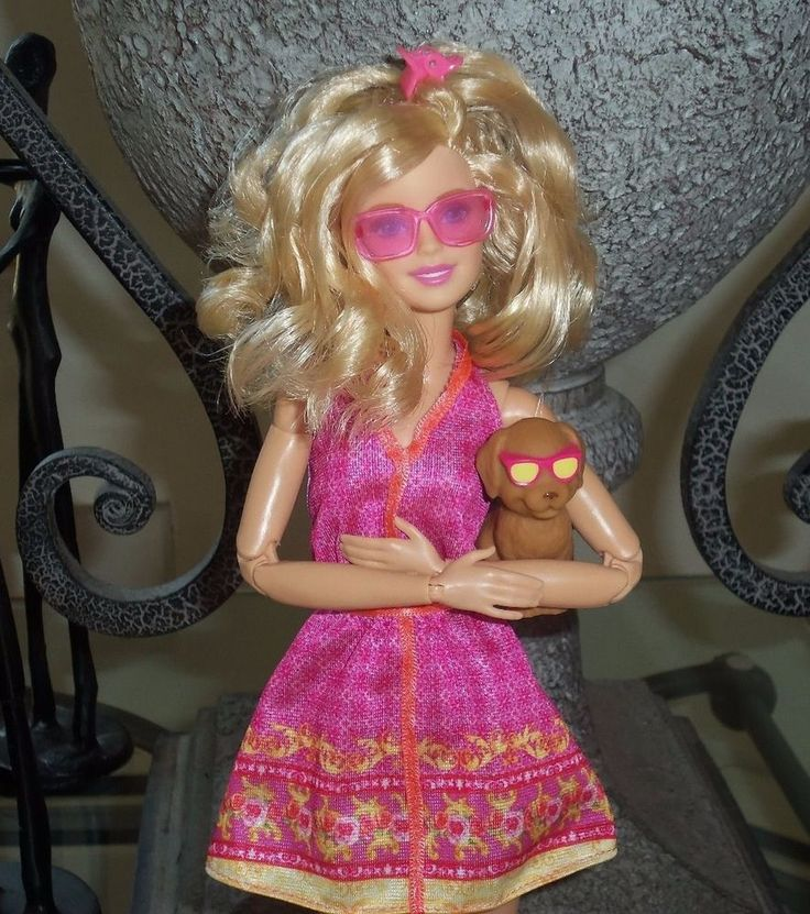 This sale is for a playful and sweet blonde (Made to Move pink shirt Barbie doll) with a sassy, fresh and full, curly styled haircut and pink/coral halter sundress! Her adorable puppy's sunglasses even match her outfit! | eBay!