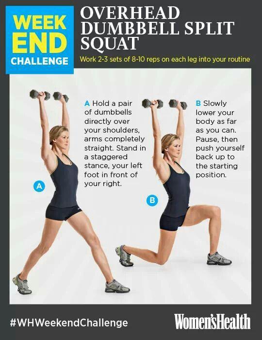Overhead dumbell split squat