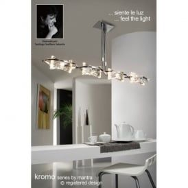 M0880PC Kromo Chrome 4 Light Halogen Semi-Flush Pendant