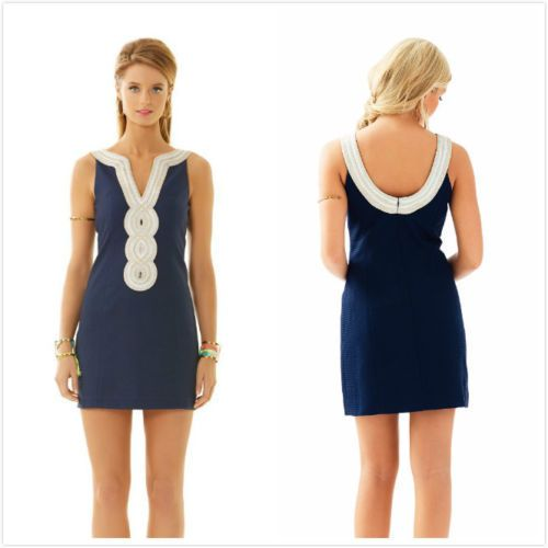 Lilly Pulitzer NWT. $198 Valli Shift Dress in True Navy Sz 6 Nautical  Party #LillyPulitzer #Shift #Cocktail
