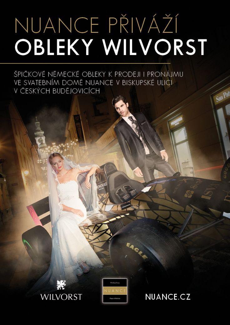 Svatební salony NUANCE prodávají kvalitní pánské obleky německé značky Wilvorst.