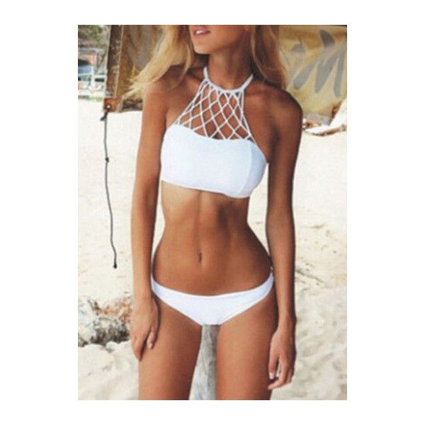 33ea0bbe47a1a Rotita White Strappy Caged Halter High Neck Bikini Set ( 21) ❤ liked on Polyvore  featuring swimwear