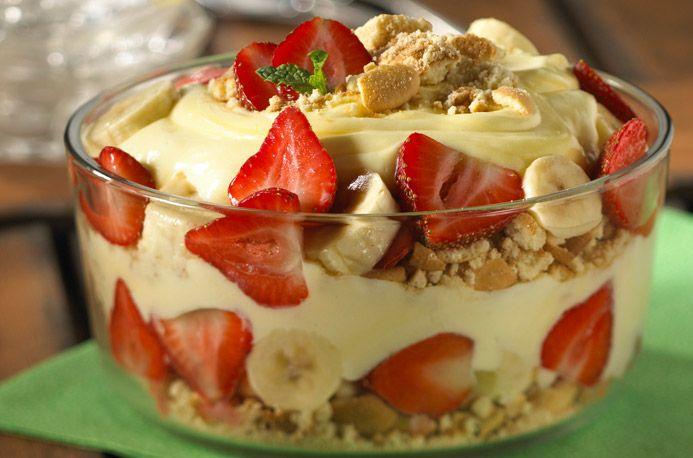Banana and Strawberry Trifle
