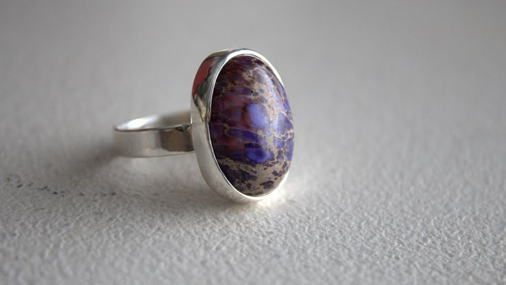 Sterling silver ring #sea sediment jasper