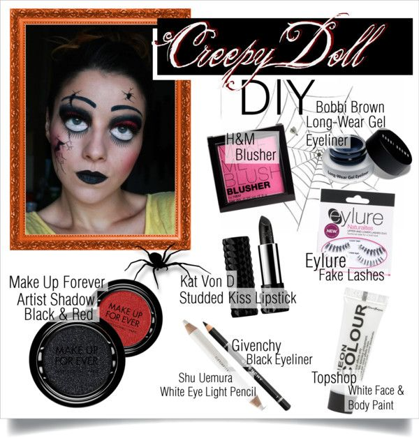 """""""Creepy Doll Halloween Makeup"""" by killerqueen188 ❤ liked on Polyvore"""