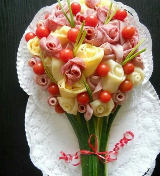 Food bouquet for meats and cheeses.