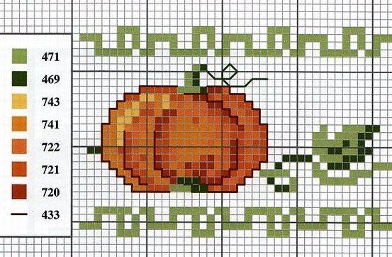 Free cross stitch pattern for pumpkin