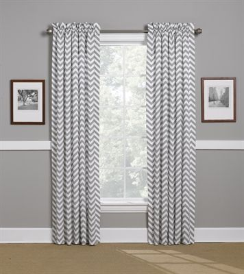 "Gray Chevron Curtains, 100"" x 84"" These chevron curtains look great with both our white and gray elephants, and gray chevron baby bedding sets. Shop now for your American Made baby bedding from Liz and Roo www.lizandroo.com"