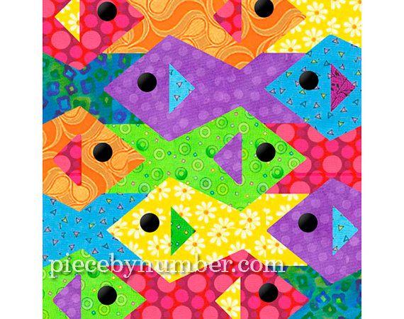 Tessellating pesce quilt pattern, paper piecing trapunta modelli instant download PDF, reticolo della trapunta di tassellazione, pesce pattern animalier