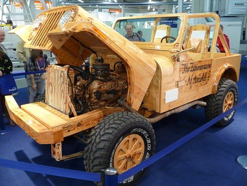 jeep cj 7 made out of wood with operating 300 hp v8 engine. Black Bedroom Furniture Sets. Home Design Ideas