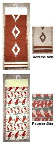 "Southwestern Table Runners . $24.99. Southwestern Table Runners in chili pepper, kokopelli, and other Southwestern designs. Also spelled: chile pepper, chilli pepper. 100% Cotton woven table runners approximately 13"" X 72"", a well proportioned size. Your dining room or kitchen never looked so good."