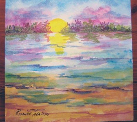 Florida Sunset Inlet Original Acrylic 6 x 6 by watercolorsNmore, $25.00