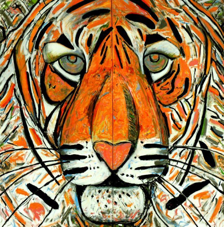 "Tiger Man by Ken Hoffman Oil and enamel 96"" x 96"""