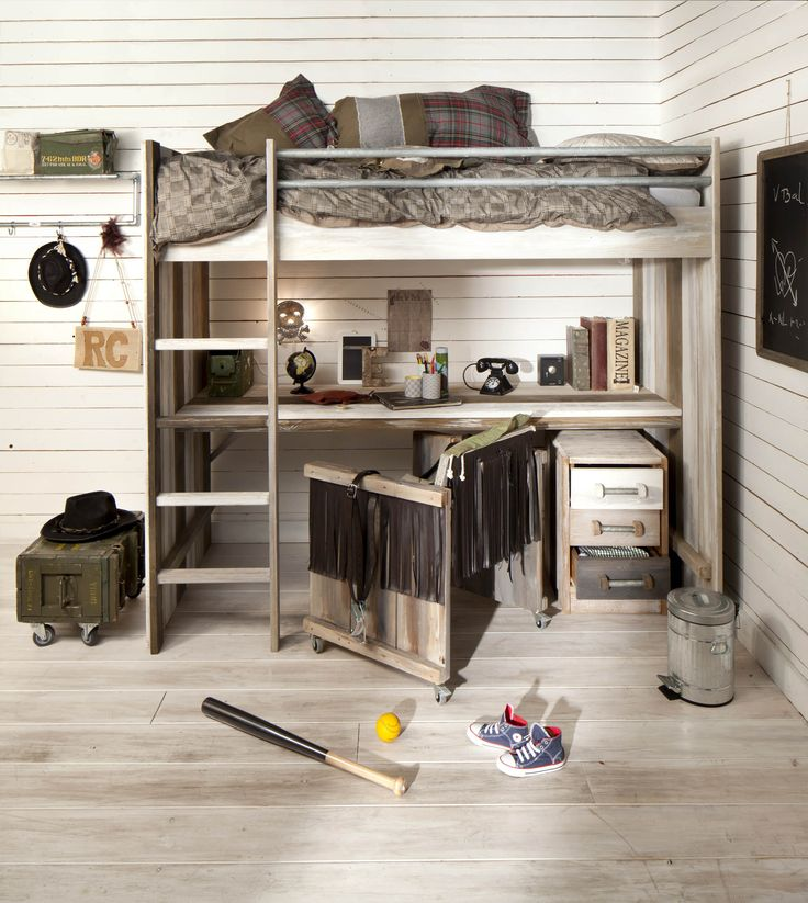 Wood Bunk bed for Kids with desk underneath
