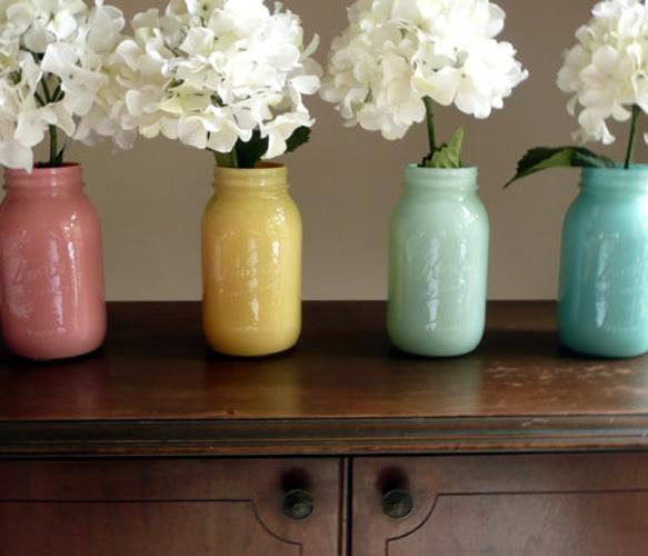 Mason Jar Vases. Love the flowers too