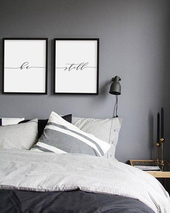 Be Still Print Minimalist Typography Art Bedroom Print Be Etsy