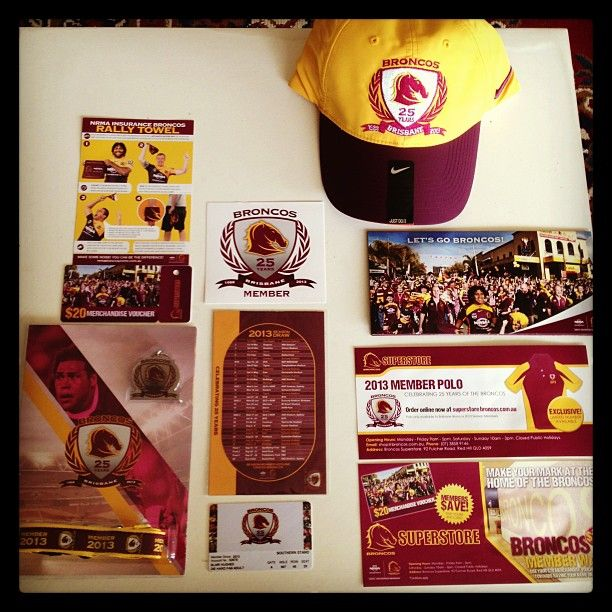 I was really impressed with my Brisbane Broncos membership pack this year. The hat especially was very nice!