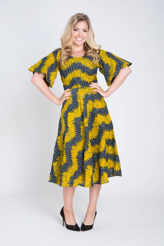 Summer dress Yellow dress long print Dress Printed by COLUFashion