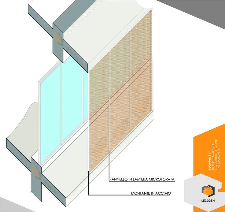 Particolare di rivestimento di facciata in Lamiera Microforata progettato per un intervento di nuova costruzione. Utile per il controllo delle radiazioni solari, della privacy e per creare giochi di luci ed ombre all'interno dell'edificio.