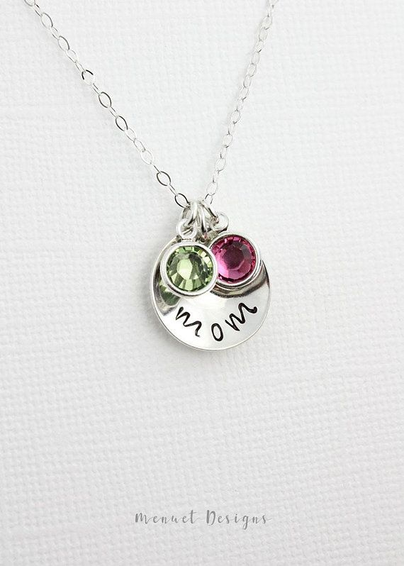 New! Mother Necklace, Silver Disc Birthstone Crystal Pendant Necklace, Simple Meaningful Jewelry, Birthday Gift for Nana